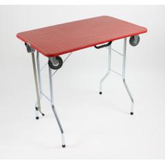 Stôl trimovací skladací s kolieskami 80x50x85cm - červený
