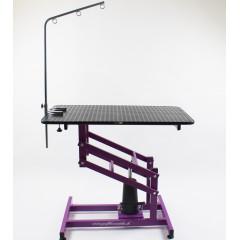 Stôl hydraulický trimovací, veterinárny so šibeničkou-  fialový