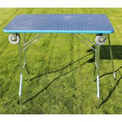 Stôl trimovací skladací s kolieskami 80x50x85cm - modrý