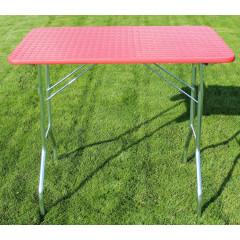 Stôl trimovací skladací bez koliesok 80x50x85cm - červený